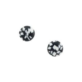 Black Sea Stone Porcelain Stud Earring / Round