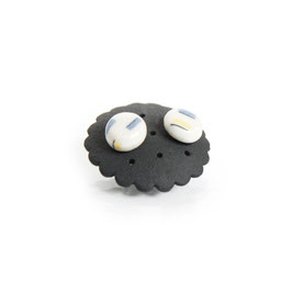 Marshmallow Porcelain Stud Earring / Round / White, candy yellow, soft blue