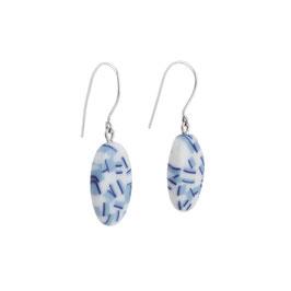 Summer Porcelain Dangle Earring  / Dark Blue, Soft Blue, Pure White / Oval / Sterling Silver Earring Hooks