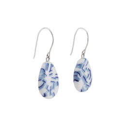 Summer Porcelain Dangle Earring  / Dark Blue, Soft Blue, Pure White / Teardrop Shape / Sterling Silver Earring Hooks