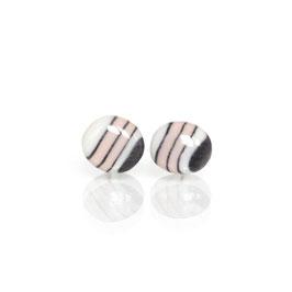 Berry Chocolate Porcelain Stud Earring / Pink Between Black Stripe