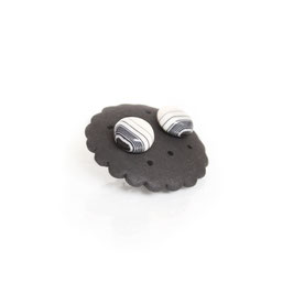 Black Line Porcelain Stud Earring / Round / Black Stripe In White