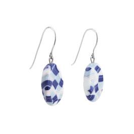 Scottish Pattern Porcelain Dangle Earring  / Dark Blue, Soft Blue, Pure White, Light Pink / Sterling Silver Earring Hooks