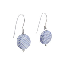 Blue Stripes Porcelain Dangle Earring With Silver Pearl / Round / Deep Blue, Pure White / Sterling Silver Earring Hooks
