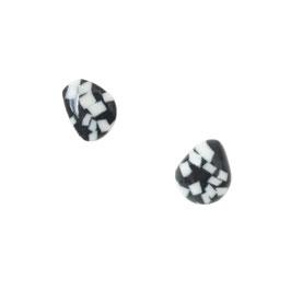 Black Sea Stone Porcelain Stud Earring / Natural