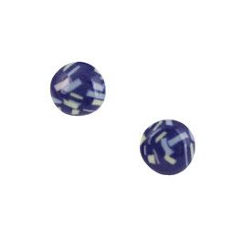 Firework Porcelain Stud Earring / In The Summer Night / Soft Blue, Yellow, Pink, Cobalt Deep Blue