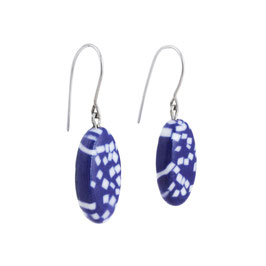 Cobalt Sea Stone Porcelain Dangle Earring / Oval / Deep Blue, Pure White / Sterling Silver Earring Hooks