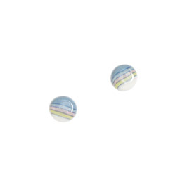 Mini Rainbow 9 mm Porcelain Stud Earring / Pink, Yellow, Soft Blue, Deep Blue, White / Sterling Silver Earring Posts