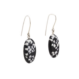 Black Terrazzo Porcelain Dangle Earring / Oval / Black, Pure White / Sterling Silver Earring Hooks