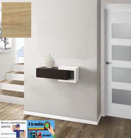 Recibidor MARBELLA 70cm Sin espejo - Blanco Soft / Cajonera color Roble Cosmopolitan.
