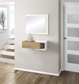 Recibidor MINI HOME Especial 50cm - Blanco Soft / Cajonera color Roble Cosmopolitan.