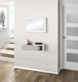 Recibidor MINI HOME 60cm Especial fondo 20cm - Blanco Soft/Cajonera color Aluminio Titán.