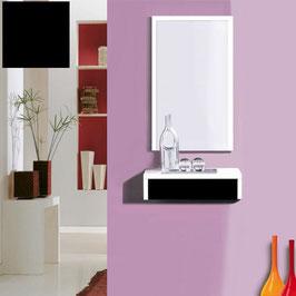 Recibidor OVIEDO 50cm - Blanco Soft / Frontal cajón Negro Soft.