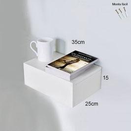 Mesita de noche flotante 35cm - Color Blanco Soft.