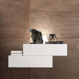 Mesita de noche flotante LEWIS 45cm Derecha - Armazón Aluminio/ Frontal cajones Blanco Soft.