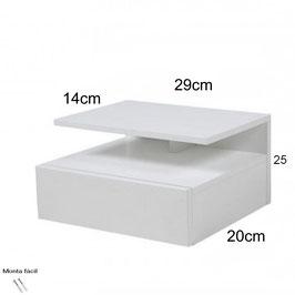 Mesita de noche flotante ALFA Especial 29x25x20cm - Color Blanco Soft.