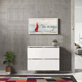 Cubre radiador flotante CLASSIC BOX 90cm Especial fondo 23cm - Color Blanco Soft.