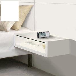 Mesita de noche flotante VIENA Especial 27cm de fondo - Color Blanco Soft.