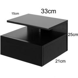 Mesita de noche flotante ALFA Especial 33cm - Color Negro Soft.
