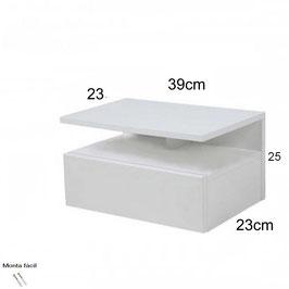 Mesita de noche flotante ALFA Especial 39x25x23cm - Color Blanco Soft.