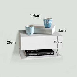 Mesita de noche flotante con estante Especial fondo 23cm - Color Blanco Soft.