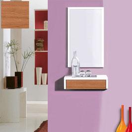 Recibidor OVIEDO 50cm - Blanco Soft / Frontal cajón Cerezo Duero.