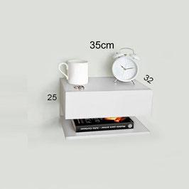 Mesita de noche flotante con estante Especial 35cm - Color Blanco Soft.