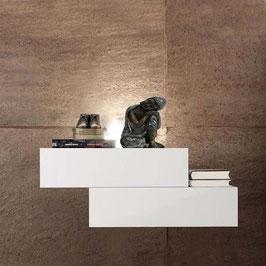 Mesita de noche flotante LEWIS 45cm Izquierda - Armazón Aluminio/ Frontal cajones Blanco Soft.