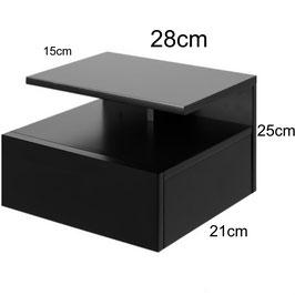 Mesita de noche flotante ALFA Especial 28cm - Color Negro Soft.