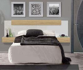 Cabezal flotante ZARA con mesitas Especial 240cm para camas de 150cm - Blanco Soft/Roble Cosmopolitan.