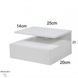 Mesita de noche flotante ALFA Especial 25x25x20cm - Color Blanco Soft.