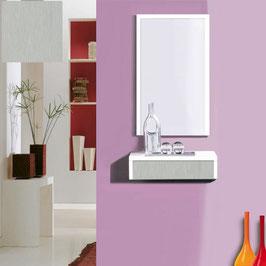 Recibidor OVIEDO 50cm - Blanco Soft / Frontal cajón Aluminio Titán.