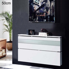 Cubre radiador flotante CLASSIC BOX CRISTAL 50cm - Blanco Soft / Cristal Blanco.