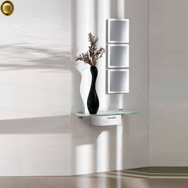 Recibidor diseño XICÓTE 80cm (Sobre cristal) - Color Blanco Soft.