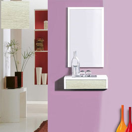 Recibidor OVIEDO 50cm - Blanco Soft / Frontal cajón Roble Oxford.