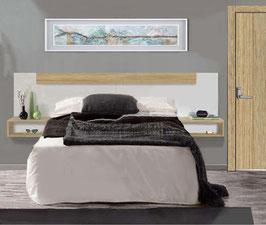 Cabezal flotante con mesitas diáfanas para camas de 135/150cm - Blanco Soft/Roble Cosmopolitan.