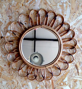 Miroir Rotin Années 60