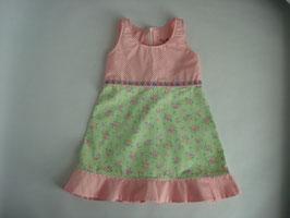 Baumwollkleid mit Rosen auf grün/ Punkte rosa
