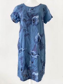 Jurk linnen jeans blauw-kelk print