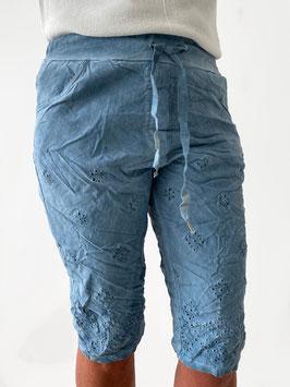 Short jeansblauw borduur