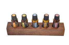 Wallnusholz Aufsteller / Display für 5 ätherische Öle von dōTERRA 15 ml Fl. Nr.15