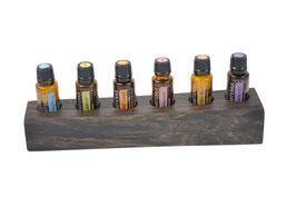 Mooreichenholz ( ca. 5000 Jahre alt ) Aufsteller / Display für 6 ätherische Öle von dōTERRA 15 ml Fl. Nr.8