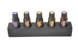 Ebenholzholz Aufsteller/Display für 5 ätherische Öle von dōTERRA 15 ml Fl. Nr.2
