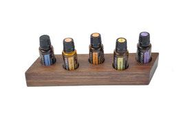 Wallnusholz Aufsteller / Display für 5 ätherische Öle von dōTERRA 15 ml Fl. Nr.14
