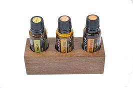Wallnusholz Aufsteller / Display für 3 ätherische Öle von dōTERRA 15 ml Fl. Nr.11