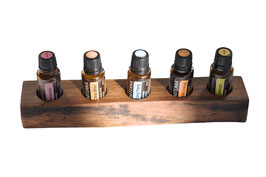 Wallnusholz Aufsteller / Display für 5 ätherische Öle von dōTERRA 15 ml Fl. Nr.16