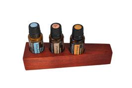 Padoukholz Aufsteller / Display für 3 ätherische Öle von dōTERRA 15 ml Fl. Nr.5