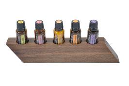 Wallnusholz Aufsteller / Display für 5 ätherische Öle von dōTERRA 15 ml Fl. Nr.1
