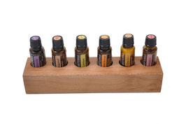 Spiegelplatanenholz Aufsteller / Display für 6 ätherische Öle von dōTERRA 15 ml Fl. Nr.1