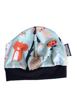 Mütze Tiere Wald mint/orange